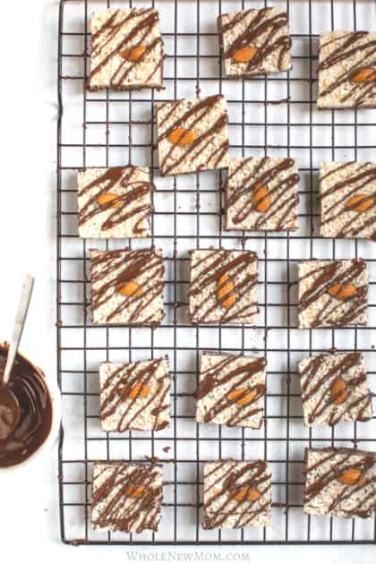no bake almond joy bars on cooling rack