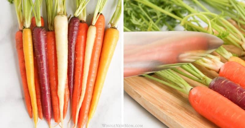 preparing oven roasted rainbow carrots
