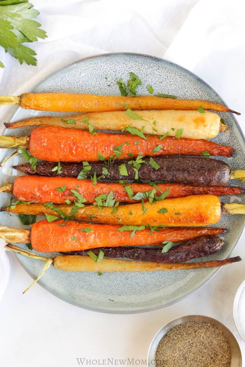 roasted rainbow carrots on a plate