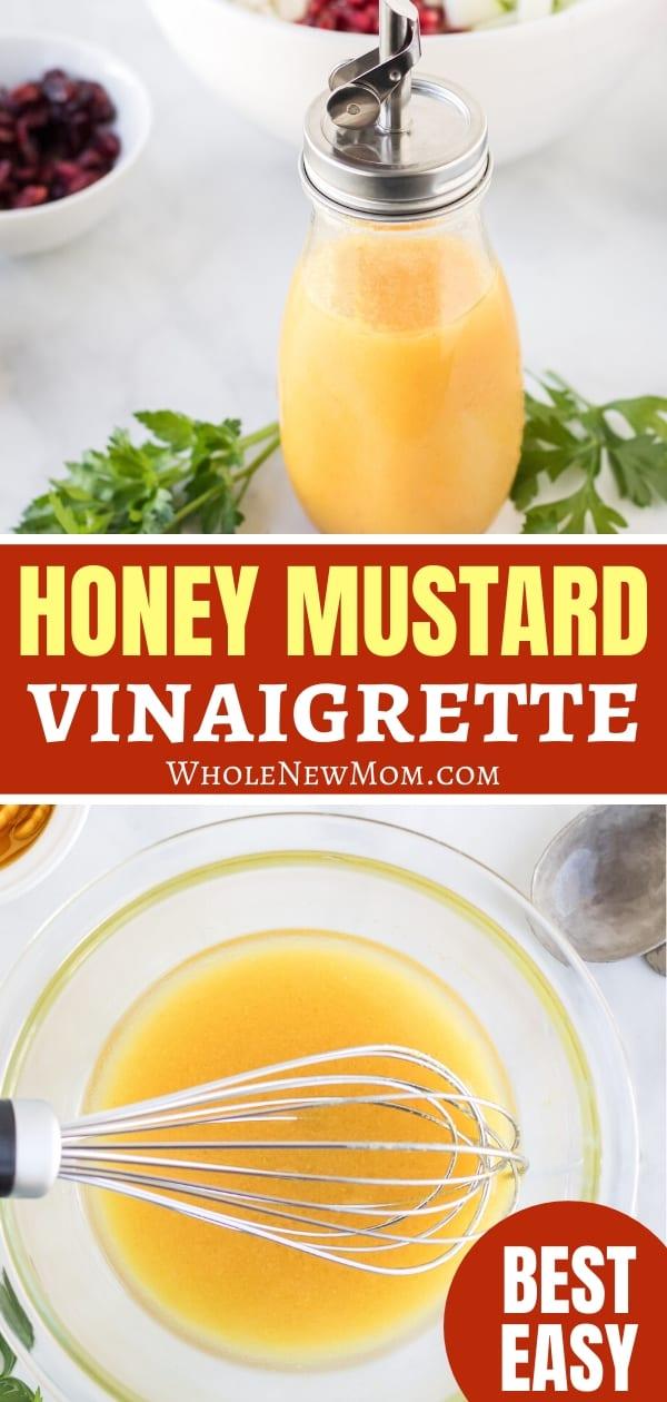 honey mustard vinaigrette in glass bottle