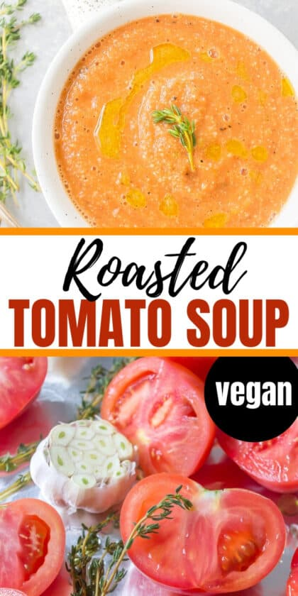 dairy-free tomato soup in a white bowl with a spoon and tomatoes and garlic on a cookie sheet for roasting