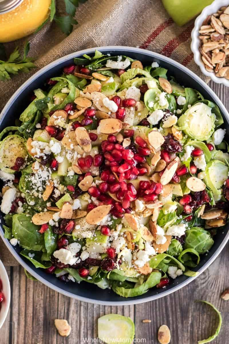 shaved brussels sprouts salad in white bowl