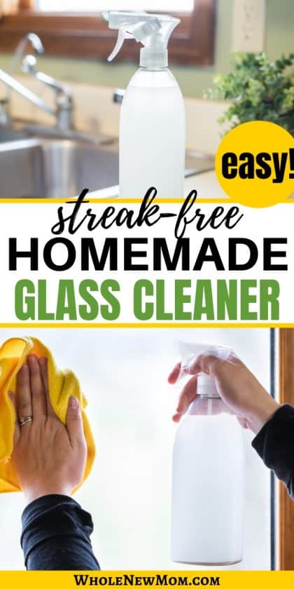 homemade glass cleaner in spray bottle on kitchen counter and cleaning a window