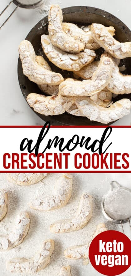 gluten-free almond crescent cookies on a black plate