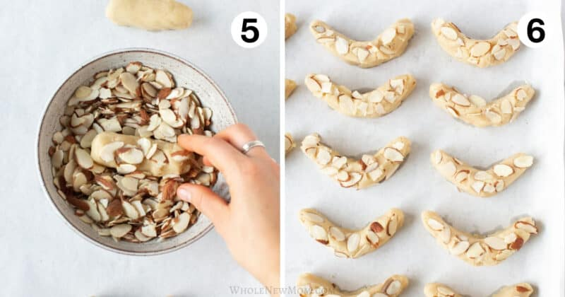 step by step photos for making keto almond crescent cookies