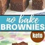 vegan no bake brownies on plates
