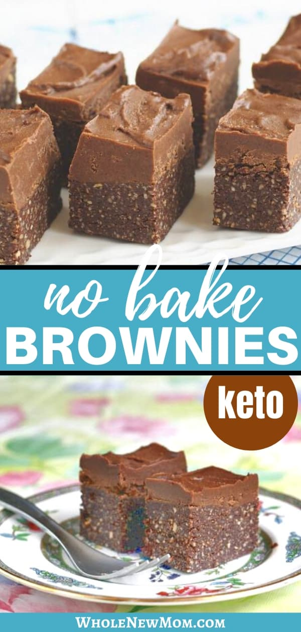 vegan no bake brownies on plates