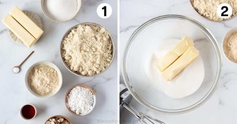 step by step photos for making vegan almond crescent cookies