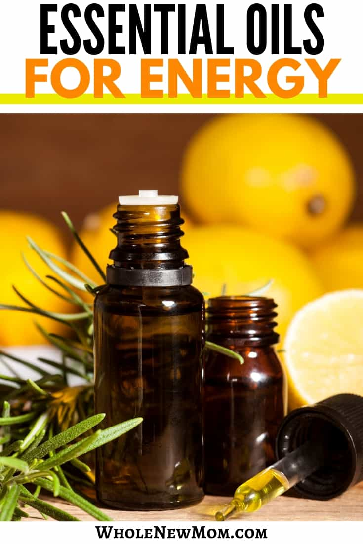 essential oil bottles with lemons and rosemary for essential oils for energy post