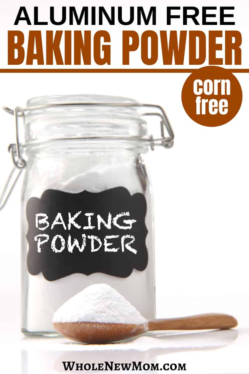 homemade aluminum-free baking powder in a glass jar with a wooden spoon