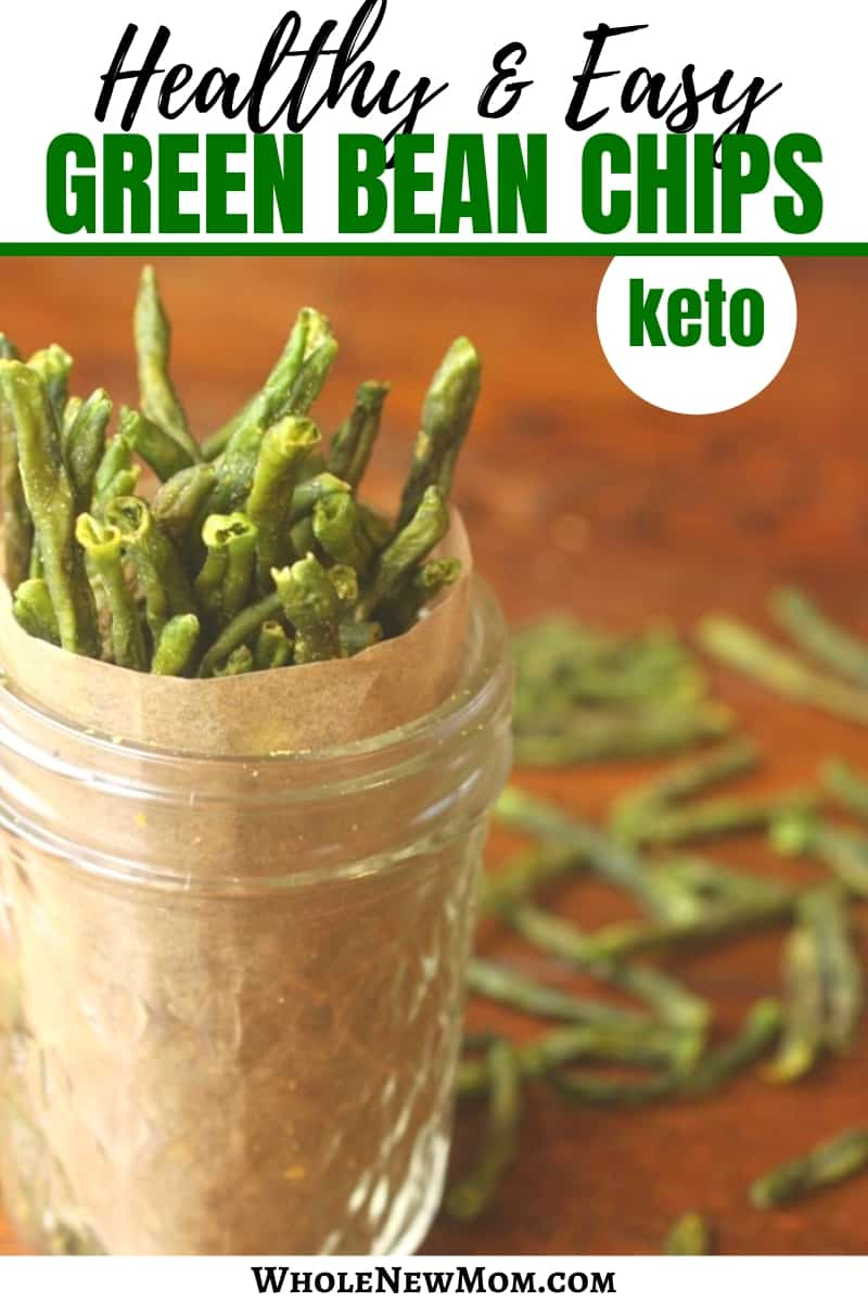 green bean chips in a glass jar with parchment paper