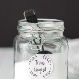 truvia copycat keto sugar substitute in a glass jar
