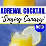 adrenal cocktail in a glass mason jar with a lemon slice garnish