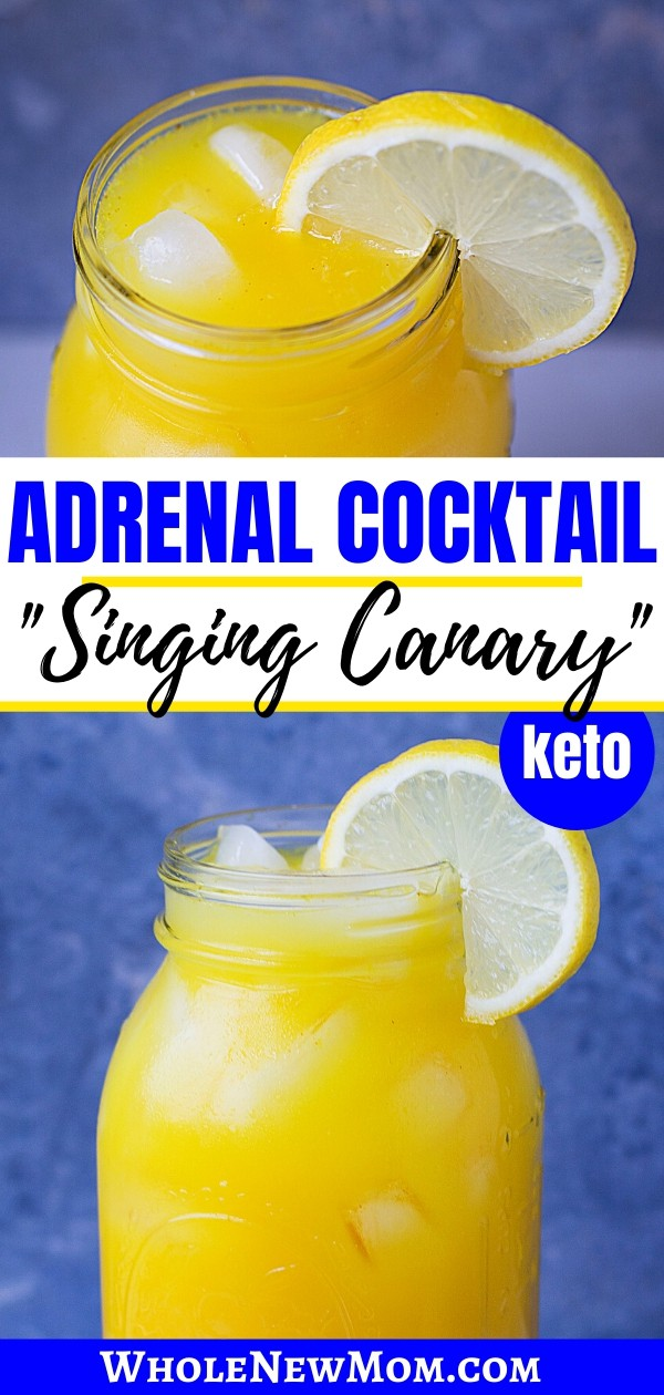 adrenal cocktail in a glass mason jar with a lemon slice garnish