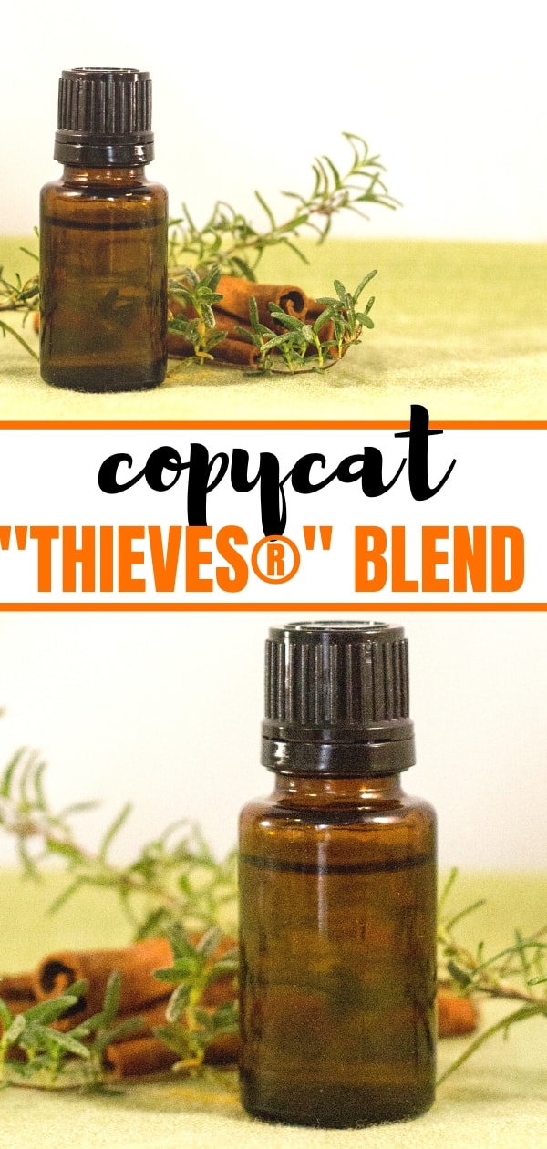 amber essential oil bottles with rosemary and cinnamon sticks for DIY Thieves® Oil Blend post