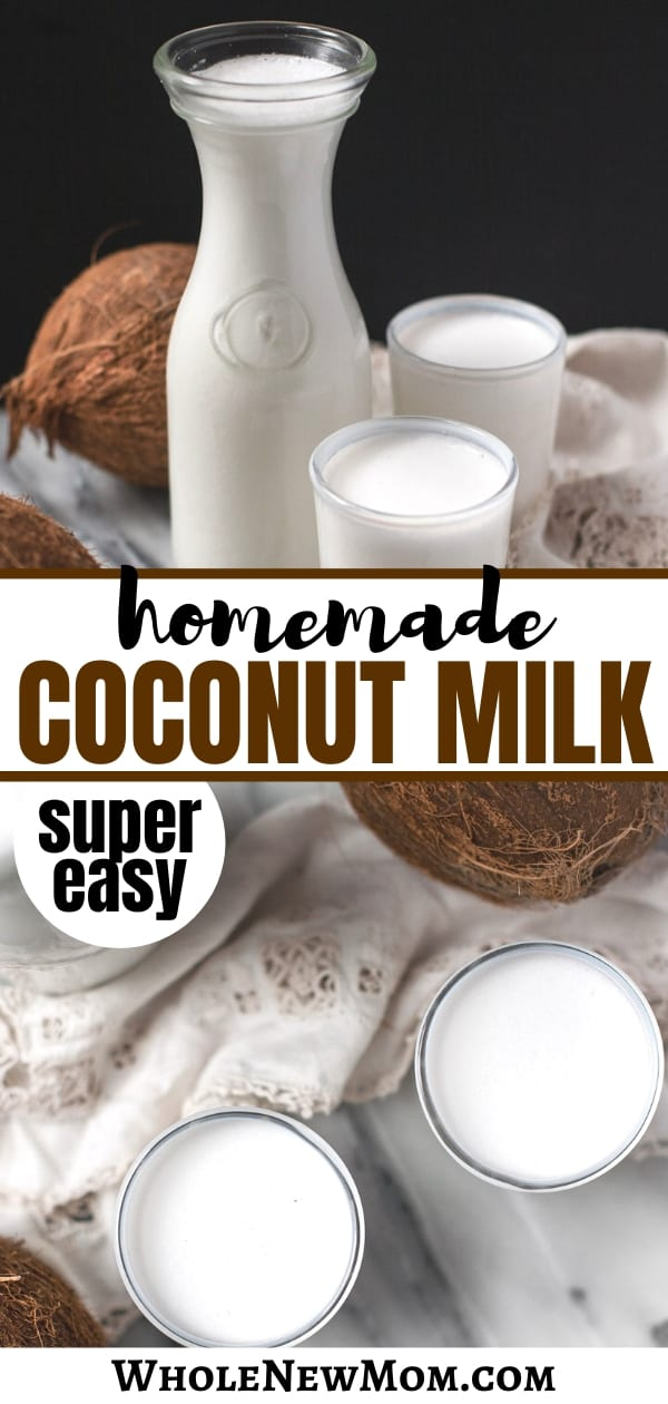 easy homemade coconut milk in glasses and glass jar