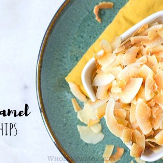 Salted Caramel Toasted Coconut Chips in a white square bowl on top of a yellow napkin on green plate