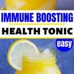 adrenal cocktail / immune boosting drink / singing canary in glass jar with lemon slice