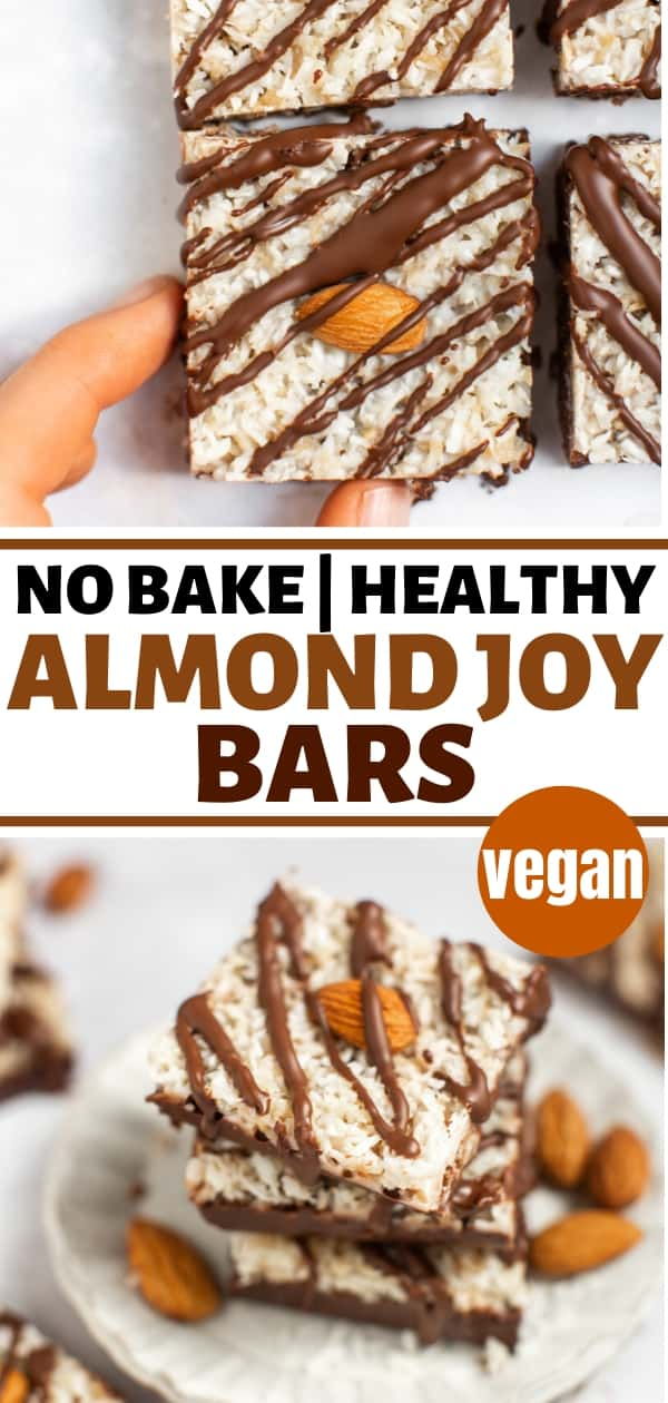 collage of no bake almond joy bars stacked on a white plate and with a hand picking one up