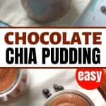 chocolate chia pudding in small glass jars with spoons