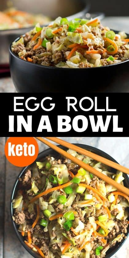 collage of egg roll in a bowl in black bowl with chopsticks
