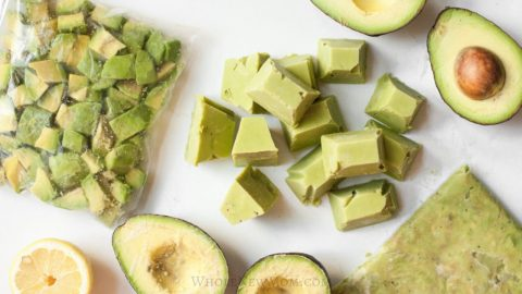 halved, mashed, and diced avocados for a post about freezing avocados