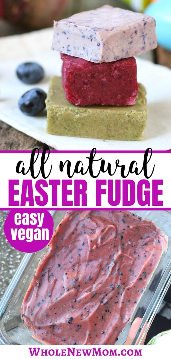 naturally colored healthy easter fudge on a white plate and in a glass pan