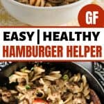 healthy hamburger helper in a white bowl and cast iron skillet