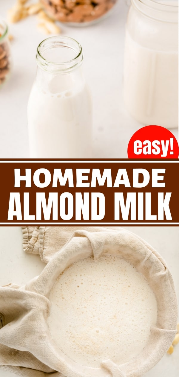 homemade almond milk in a nut milk bag and in glass bottles with almonds in background