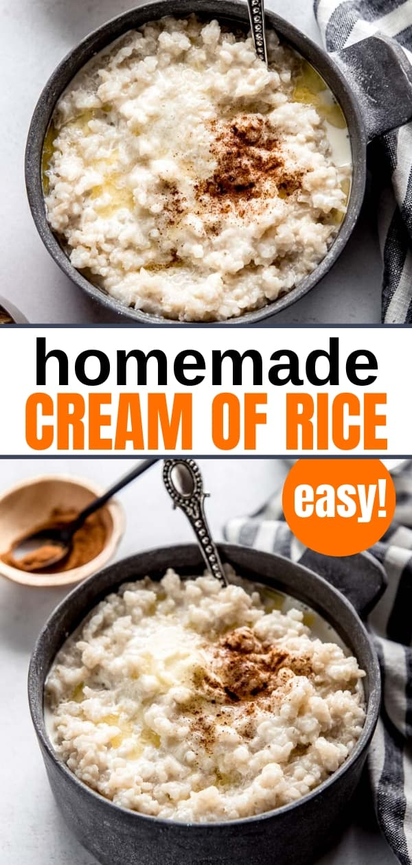 homemade cream of rice cereal with butter and cinnamon in a gray bowl with a spoon