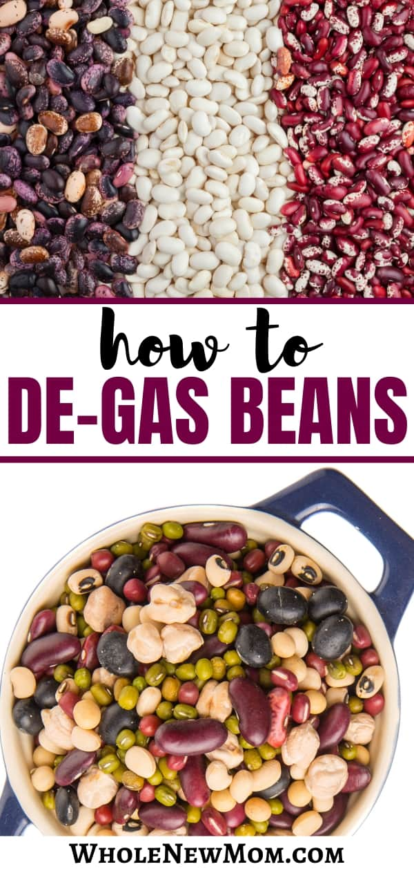 lots of dried beans on a surface and a variety of dried beans in a blue pot for a post about how to de-gas beans