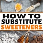 sugar cubes, honey, and other sweeteners for a post about baking with honey and substituting sweeteners