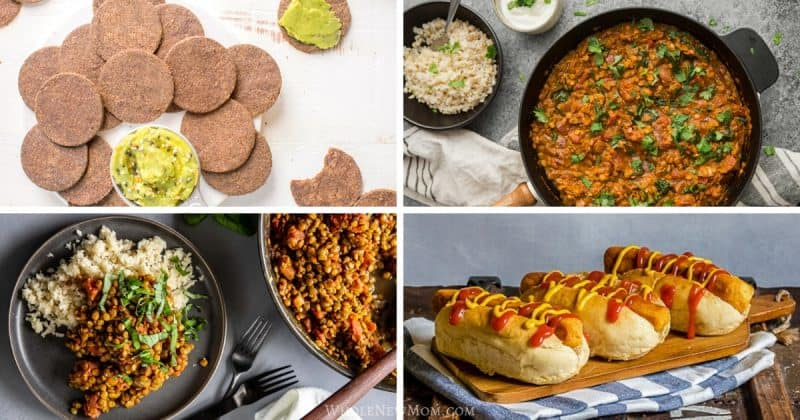 collage of healthy lentil recipes including lentil curry, lentil hot dogs, lentil burger, lentil crackers, and more