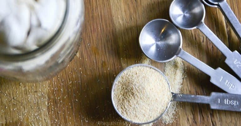 homemade garlic powder in a measuring spoon with garlic in a jar on wood table
