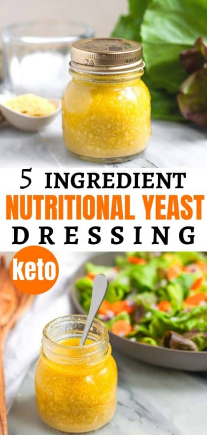 nutritional yeast salad dressing in small glass jar next to salad