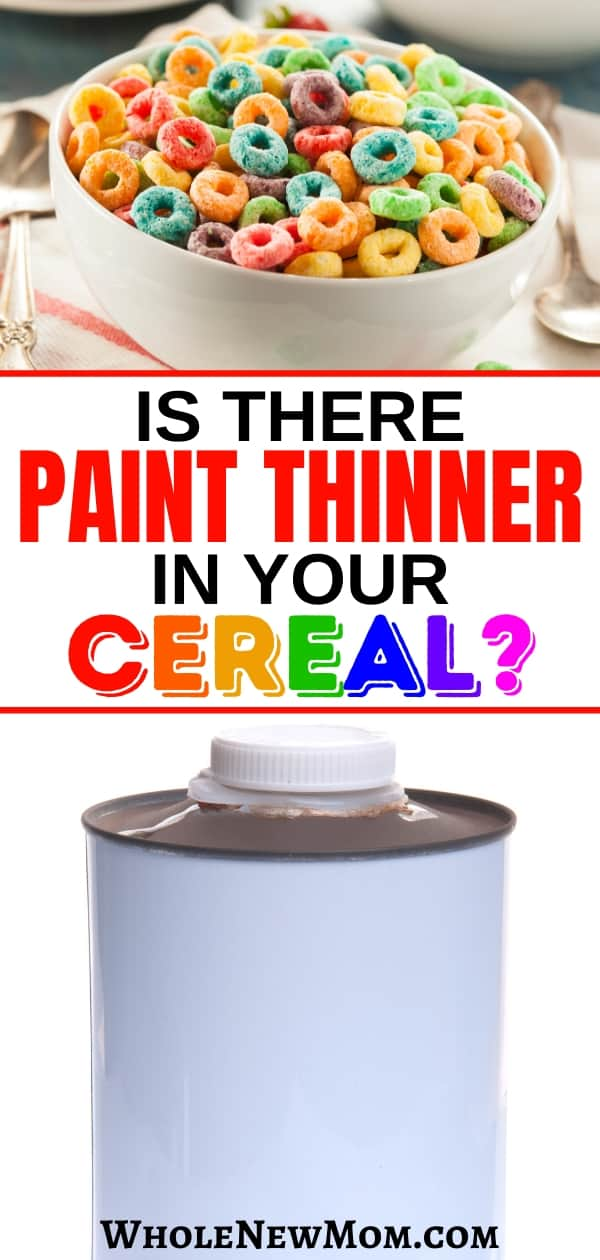 collage of colored cereal and paint thinner can for post on trisodium phosphate in cereal