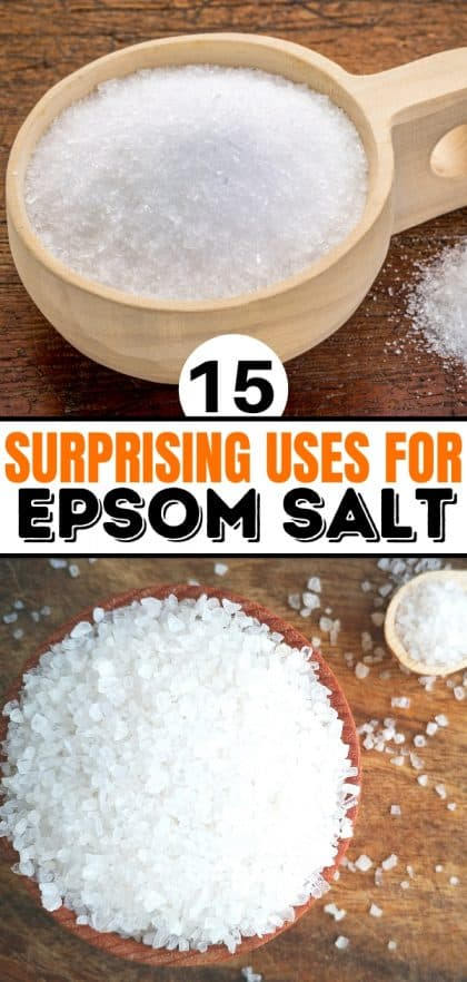 collage of epsom salt in a wooden bowl and wooden cup and wooden spoon for post about uses for epsom salt