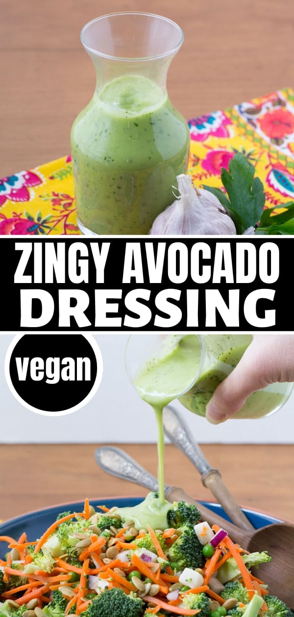 collage of vegan avocado dressing in a carafe on colorful napkin and also being poured onto a salad