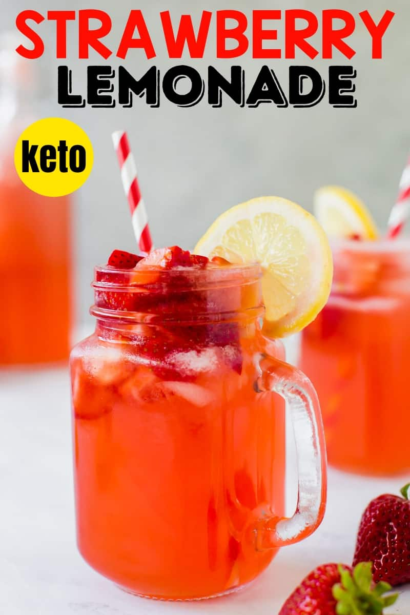 easy healthy strawberry lemonade in glass mugs with red and white straws and lemon garnish
