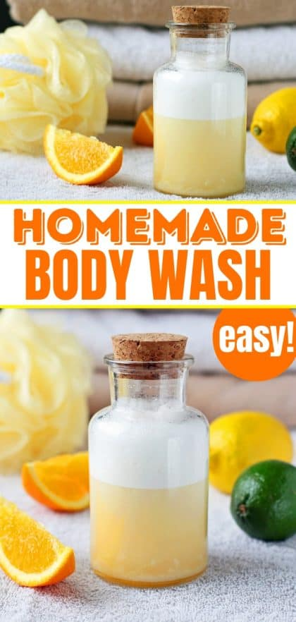 homemade body wash in glass jar with a cork top on a towel with citrus fruits