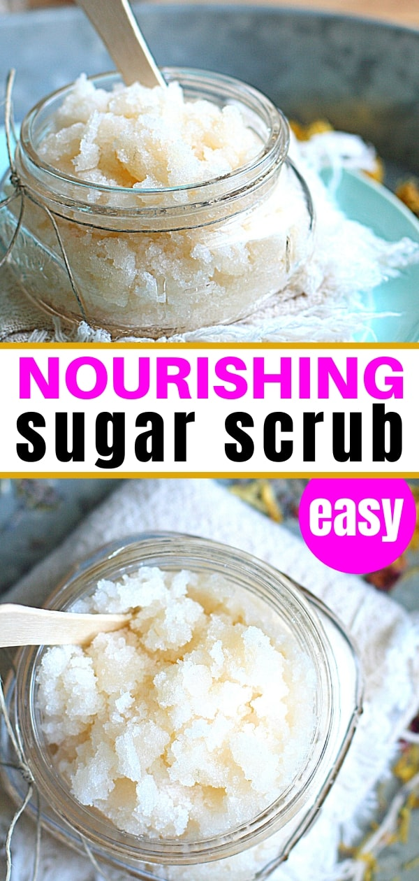 collage of homemade sugar scrub in a jar