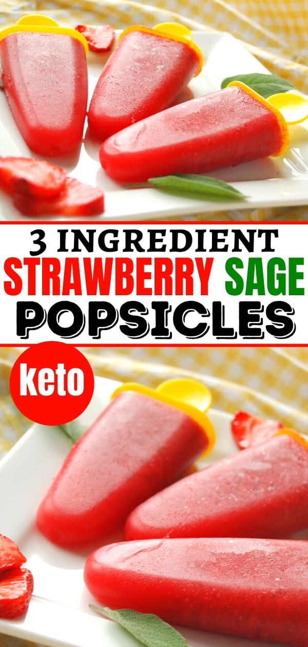 keto strawberry sage popsicles with yellow popsicle mold handles on a white plate