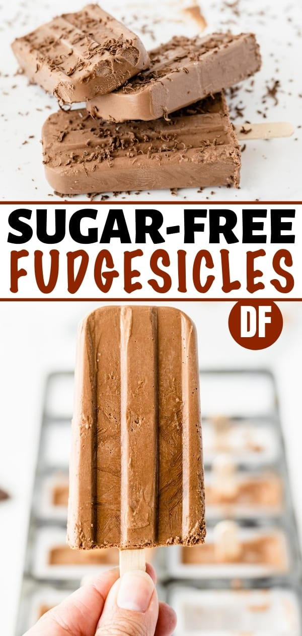 collage of sugar-free fudgesicles - in a pile on a white plate and a hand holding a fudgesicle