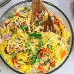 Spaghetti squash salad in a bowl