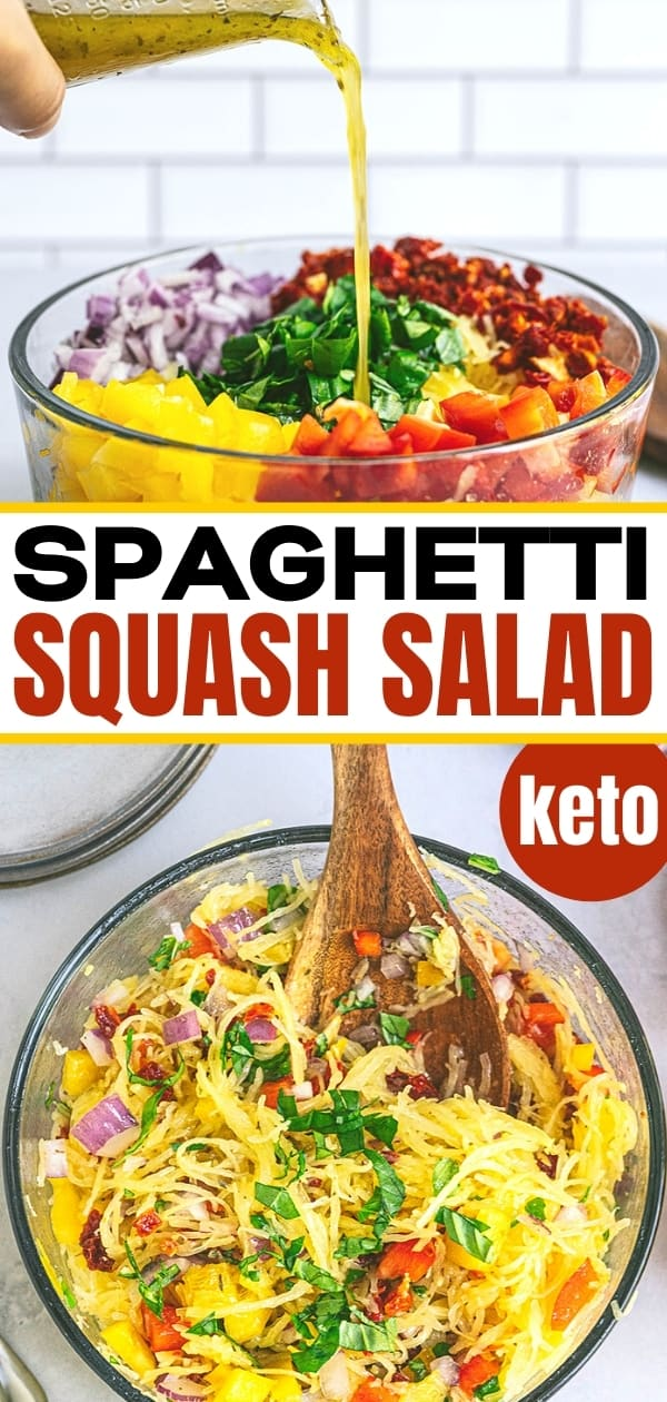 collage of spaghetti squash salad in glass bowl with dressing pouring