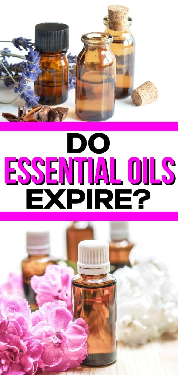 "collage of essential oil bottles, spices, and flowers for a post titled, ""do essential oils expire?"""