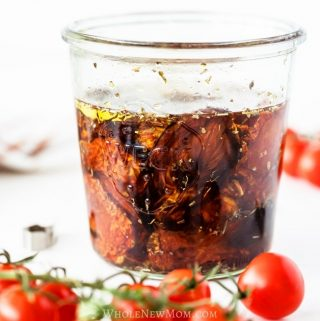 Sun-dried tomatoes in a glass jar