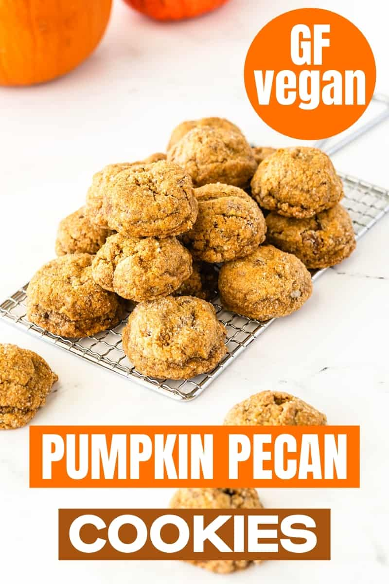 pumpkin pecan cookies on antique style wire cooling rack