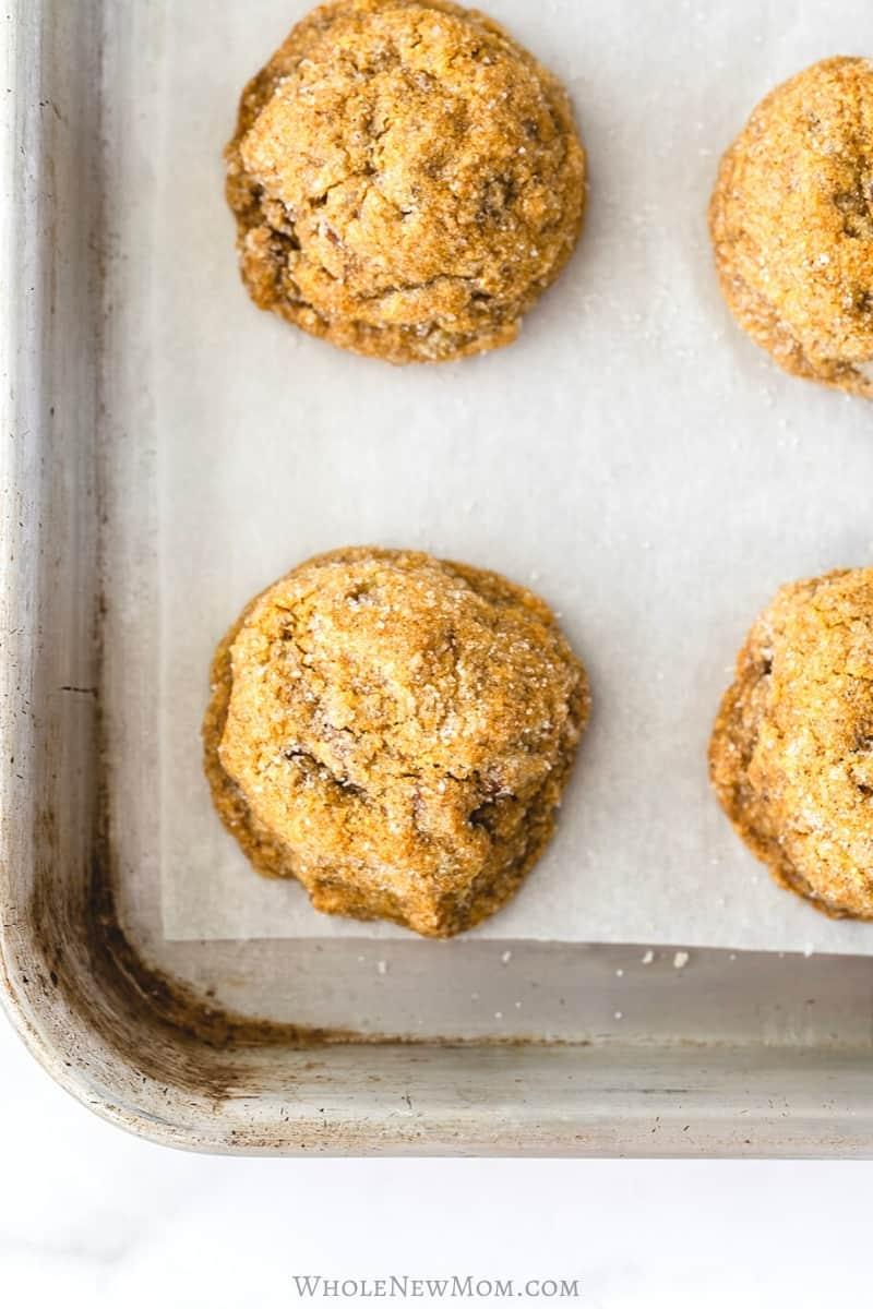 pumpkin pecan cookies on baking sheet