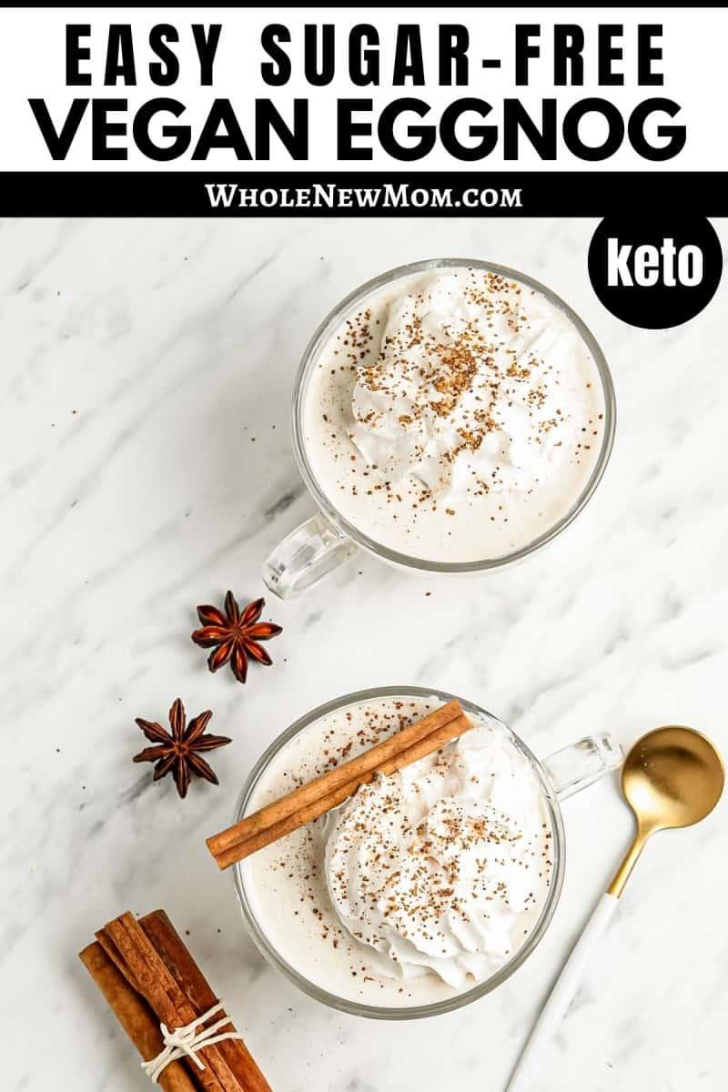 vegan eggnog in glass mugs with spoons and cinnamon sticks